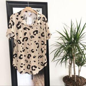 Lularoe Charlie Dolman Button Down Shirt Leopard L